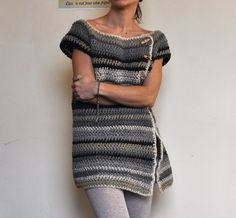 What a sophisticated and comfortable looking sweater; free crochet pattern on Ravelry.