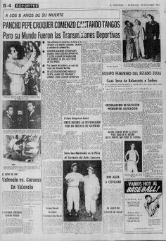 """Hace 58 años falleció en accidente automovilístico el locutor y narrador deportivo José """"Pancho Pepe"""" Cróquer. Publicado en El Nacional el 18 diciembre de 1963"""