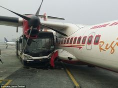 Jet Airways bus crashes into Air India plane at Kolkata airport Air India, Kolkata, Air Birds, Atr 42, Aviation Accidents, Bird Strike, Aviation Quotes, Jet Airways, Bus Coach