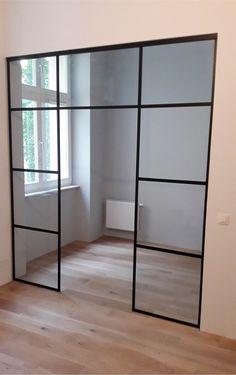 Drzwi Loftowe - Industrialne | Drzwi wewnętrzne - zabudowy szklane - drzwi loft - podłogi Door Mirrors, Diy Home Crafts, Divider, Loft, Doors, Nice, Furniture, Home Decor, Houses