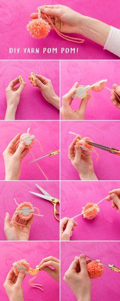 How to Make This Ridiculously Adorable Pom-Pom Tassel Wall Hanging via Brit Co Craft Stick Crafts, Yarn Crafts, Craft Ideas, Diy Crafts, Pom Pom Maker, How To Make A Pom Pom, Yarn Wall Hanging, Fabric Scissors, Textiles