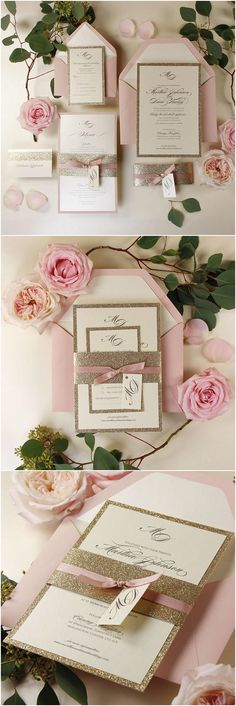 Modern Gold Glitter Wedding Invitation with Belly Band, Simple Rose Pink Elegance Ribbed Dusty Pink Ribbon, Custom Tag, Envelopes w/ Liners