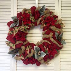 "Large Burlap Christmas Wreath, Xmas Wreath, Poinsettia Wreath, Burlap Wreath, 22"" Door Decor"