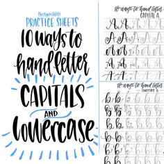 Hand Lettering Practice Sheets 10 Ways to by ThePigeonLetters Lettering Practice Sheets, Hand Lettering Fonts, Creative Lettering, Lettering Tutorial, Lettering Ideas, Chalkboard Lettering Alphabet, Chalk Typography, Lettering Styles, Vintage Typography