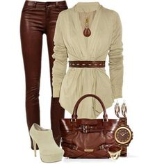 Chocolate Leather Pants/ Cream Tunic/ Cream Bootie's: Daring and fabulous- gorgeous bag, too.