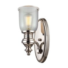 Elk Lighting Chadwick 1 Light Wall Sconce in Polished Nickel And Halophane Glass