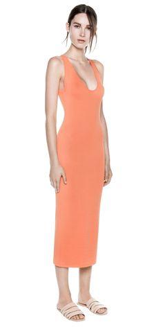 TANK DRESS - by Dion Lee #knitwear #Formfitting #sleeveless #lowcut #orange