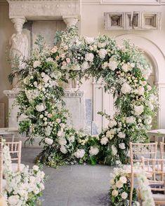 Wedding Flower Arrangements, Wedding Flowers, Aynhoe Park, Moon Gate, Love Ring, Floral Wreath, Wreaths, London, Photo And Video