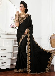 Black Satin Chiffon Saree
