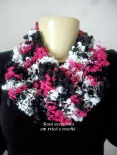 Black+white+pink  - Cowl, Gola  - knit - tricot by www.rosaacessorios.blogspot.com