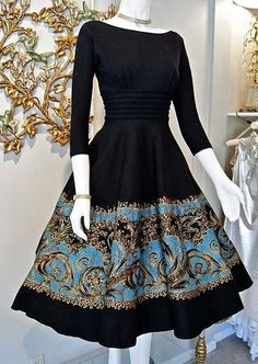 50s style black formal dress, blue and gold embroidery