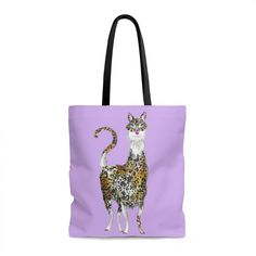 Sassy Meowllama Purple Tote Bag
