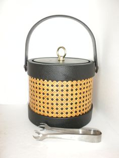 Vintage Rattan and Leather Ice Bucket by oldandnew8 on Etsy, $22.00