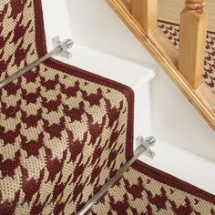 Houndstooth Red Stair Carpet Runner - Free delivery on orders over & 30 day return guarantee from Carpet Runners UK. Carpet Runner, Rug Runner, Treads And Risers, Diy Carpet, Carpet Ideas, Stair Rods, Modern Stairs, Modern Cottage, Carpet Stairs
