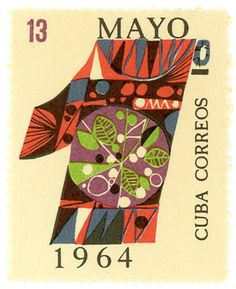 "Cuba postage stamp: May 1    c. 1964, symbolic numeral ""1"" in honor of Labor Day    (designer unknown)"