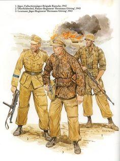 "DAK 1941-1943 - 1 Jaeger, Fallshirmjaeger Brigade Ramke, 1942 - Oberfelfwebel, Panzer Regiment ""Hermann Goering"", 1943 - 3 Leutenant, Jaeger Regiment ""Hermann Goering"", 1943"