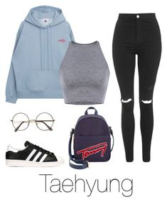 """Lazy day with Taehyung"" by infires-jhope on Polyvore featuring Topshop, adidas Originals and Tommy Hilfiger"