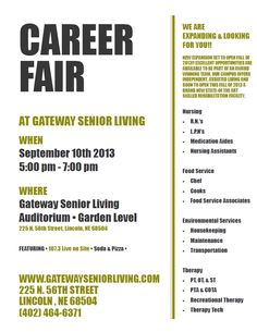 Gateway Senior Living hosting a career fair Tuesday, September 10th from 5-7. Opportunities in nursing, food service, environmental services, and therapy.
