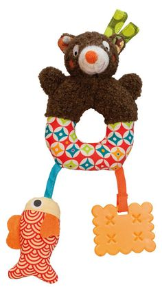 """Boy Ring Soft Teether Toy 0 Baby My 1st First Rattle 6/"""" Duck Months Frog"""