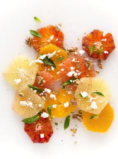 citrus salad with mint, goats cheese and crushed walnuts
