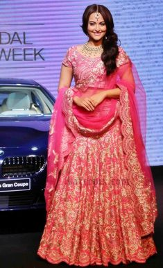 sonakshi-sinha-in-lehenga-bmw-6-series-gran-coupe-launch