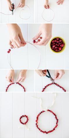 Cranberry crown + wreath DIY