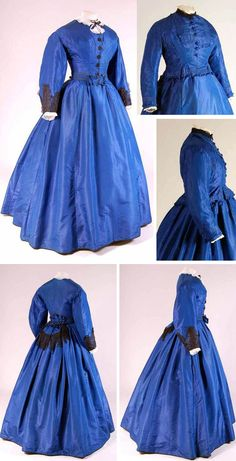 Dress in 3 parts: one bodice and skirt ca. 1865, second bodice ca. 1870. Blue silk; one bodice trimmed with black lace and beaded embroidery. Both bodices lined in white cotton. Wide skirt. Mode Museum, Antwerp
