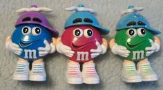 M & M Candy Easter PINK, GREEN, BLUE/ Baseball Cap with Rabbit Ear Propellers E1 #Valentinetoppers