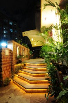 Cool lit-up stairs at Kothi Anandam - A Luxury Homestay in Jaipur, India