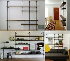 TV wall modern build your own ideas pipe furniture black industrial design