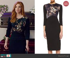 Donna's black floral panel dress on Suits. Outfit Details: http://wornontv.net/46436/ #Suits