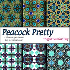 Digital Download Printable paper craft DIY gift wrapping paper and digital background Peacock design