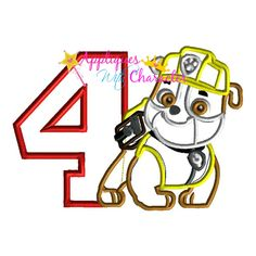 Paw Rubble Patrol Pup Four Applique Embroidery Machine Design 3 sizes Instant Download by appliqueswcharacter on Etsy