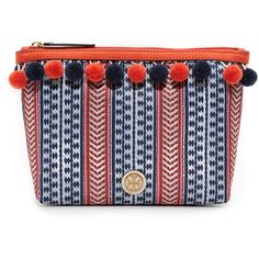 Tory Burch Pom Pom Cosmetic Case ($125) ❤ liked on Polyvore featuring beauty products, beauty accessories, bags & cases, toiletry kits, make up bag, travel kit, tory burch makeup bag and wash bag