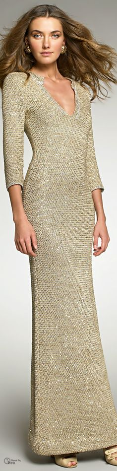 Oscar De La Renta ● Crocheted Sequin Gown