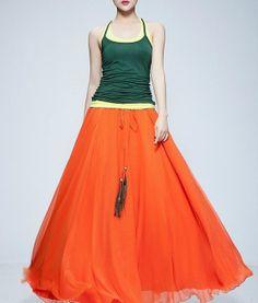 Orange Full Pleated Skirt Long Aline Beach Maxi by ChineseHut, $139.00