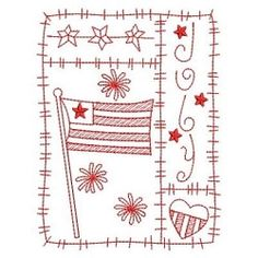 Redwork 12 Months of the Year, July - 3 Sizes! | What's New | Machine Embroidery Designs | SWAKembroidery.com Ace Points Embroidery
