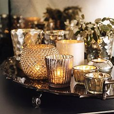 Frosted Mercury Pot | The White CompanyL Love all these assorted votives on a silver tray.