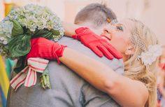 red bridal gloves