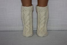hand knit socks, ivory knee high cable socks, doll socks, 18 inch doll clothes by UpbeatPetites on Etsy