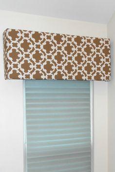 Cornice from Foam Board; batting; fabric; spray adhesive; window treatment