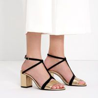 Image 4 of LEATHER HIGH HEEL SANDALS WITH STRAP DETAIL from Zara