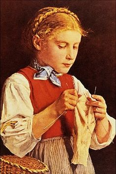 """""""Young Girl Knitting"""" by Albert Anker (Swiss, 1836-1910)"""
