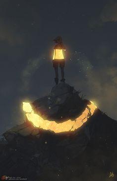 Фото Девушка в светящейся кофте стоит на светящейся горе, by Erica June Lahaie