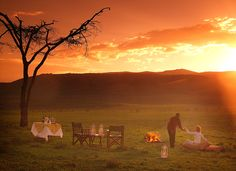 Having sundowners at Chui Lodge, Kenya