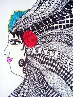 Zentangle Hair - student work - Nandini Middle School Art Projects, Inspiration, Zentangle, Doodles, Art, Zen Art