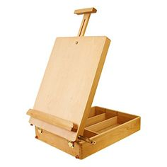 """US Art Supply Newport Large Adjustable Wood Table Sketchbox Easel, 13""""x17 1/2""""x5-3/8"""" - Desktop Artist Easel - Wooden Portable Compact Stand - Student Drawing Painting With FREE Palette"""