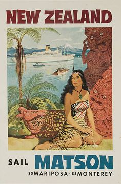 Matson Lines Travel Poster, New Zealand ca 1950s Maori beauty sits beside tropical carvings and Matson Lines cruse ship passes by. (Photo by David Pollack/Corbis via Getty Images)