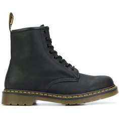 Dr. Martens 8 eyelet lace-up boots ($195) ❤ liked on Polyvore featuring men's fashion, men's shoes, men's boots, black, mens black boots, mens black leather shoes, mens black leather boots, dr martens mens shoes and mens leather boots