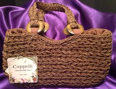 "Cappelli Straworld Hand Made Straw Purse 12""x6.5"" Beach Tote Cruise Bag Resort #CappelliStraworld #Satchel"